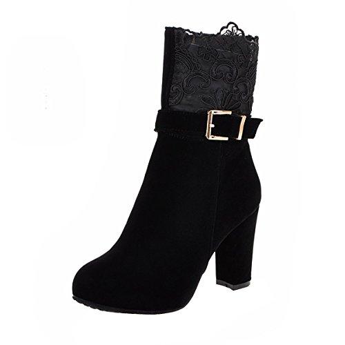 YE Damen Blockabsatz Ankle Boots Plateau Stiefeletten High Heels mit Spitze Schnallen und...