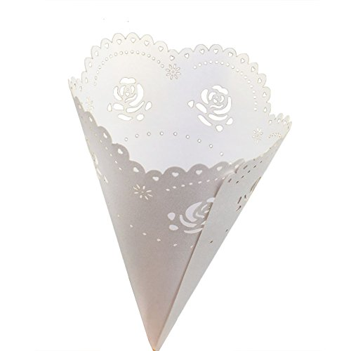 comprare on line Tomkity 50pz Coni Portariso Riso Petali Festa Matrimonio Portaconfetti Portariso Perlato prezzo