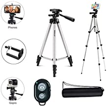 Marklif Adjustable Aluminium Alloy Tripod Stand Holder for Mobile Phones, 360 mm -1050 mm, 1/4 inch Screw with Selfie Remote