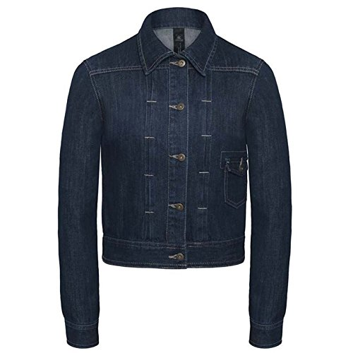 B&C Denim Damen Modern Jacke Deep Blue Denim Gr. Medium, Deep Blue Denim (Distressed Bomber Brown)
