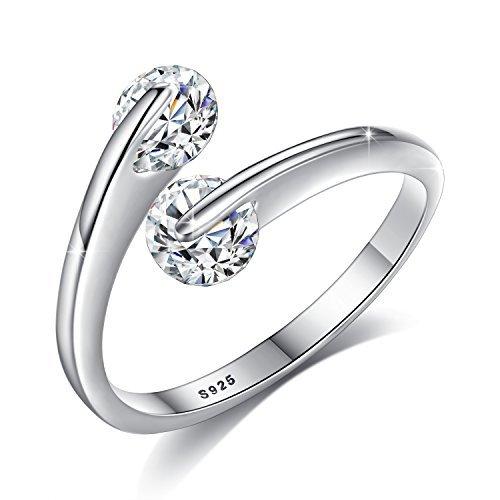 Fashmond Damen Ring Silber 925 mit Kristall Stein Offen und Verstellbar Valentinstag Hochzeit Verlobung Geschenke für Mädchen Frauen