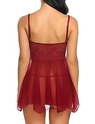 ADOME Spitze Negligee V-Ausschnitt Babydoll Lingerie Öffnen Zurück Nachtwäsche Kleid Dessous Unterwäsche für Damen mit Panties
