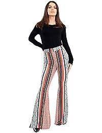 78de60264cb Verso Fashion Womens New Printed Wide Leg Flared Trousers