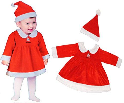2 tlg. BABY Kostüm Weihnachtsfrau - 1 bis 2 Jahre - Gr. 80 - 92 - Karneval / Weihnachten / Nikolauskostüm / Weihnachtselfe / Nikolaus - Kleid + Mütze - für Kinder / Kind Babykostüm Kinderkostüm Fasching + Halloween - Weihnachtskostüm / Weihnachtsmannkostüm - Mantel