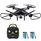 40 Minutos Tiempo de Vuelo RC Drone, H68 FPV Quadcopter con cámara 720P HD Vídeo en Vivo Transmisión en Tiempo Real Modo sin Cabeza Altitud Sostener helicóptero 2 baterías - Negro
