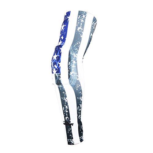 COOLOMG (1 pezzo), per ragazzi, per adulti, imbottitura a compressione Maniche scalda-Palla da basket Shooter-Protezione per gomito, motivo: bandiera americana, taglia XL, colore: blu, uomo Bambino Donna, Blue US Flag