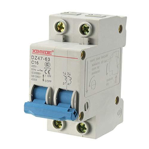 ZCHXD 2 Poles 16A 400V Low-voltage Miniature Circuit Breaker Din Rail Mount DZ47-63 C16 Din Mount Circuit Breaker