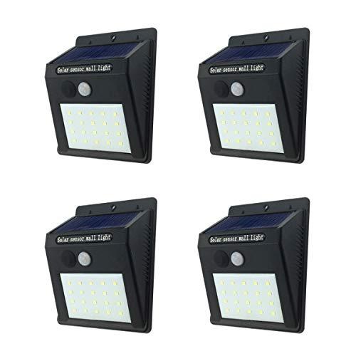 Solarleuchten, 20LED Solar Motion Sensor Lichter, wasserdicht Sicherheit Sunpower Solar Panel Lampe Außenleuchten für Garten, Schritte, Terrasse, Garten, Auffahrt, Garage, Zaun, 4Stück -
