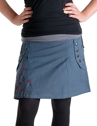 Vishes - Alternative Bekleidung - Bedruckter und bestickter Baumwollrock mit Blumen grau 42 - Sommer Bestickt Rock