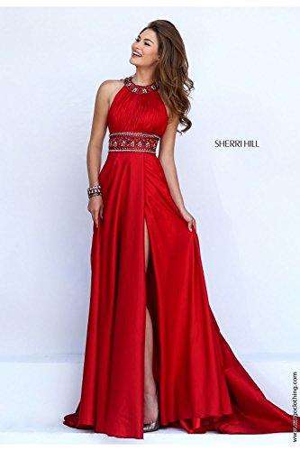sherri-hill-red-11318-pleated-bodice-belt-detail-long-dress-uk-14-us-10