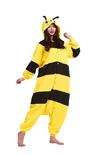Magicmode Unisex Kigurumi Pyjamas Cartoon Tiere Erwachsene Strampelanzug Anime Hoodie Cosplay Nachtwäsche Honey Bee M
