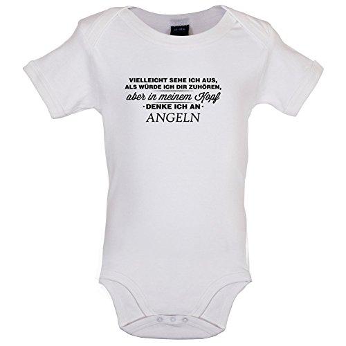 Dressdown Vielleicht Sehe ich aus als würde ich dir zuhören Aber in Meinem Kopf denke ich an Angeln - Lustiger Baby-Body - Weiß - 0 bis 3 Monate