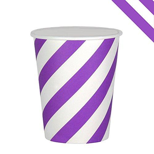 es EinsSein® 53x75x88mm weiß-lila Papierbecher Streifen Becher aus Pappe Partygeschirr Pappgeschirr (Farben, Die Gehen Mit Mint Grün)