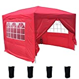 FoxHunter Waterproof 3m x 3m Pop Up Gazebo Marquee Garden Awning Party Tent Canopy 260g Polyester Powder Coated Steel Frame 4 Weight Bags Red