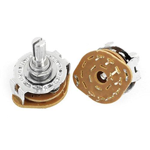 sourcing map 2 Stk. 1P8T 1-polig 8 Positions 6mm Schacht Band Selektor Drehschalter DE de 12 Position Rotary Switch