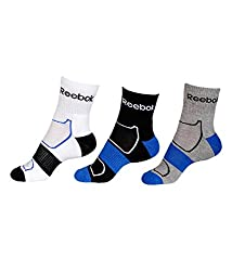 Reebok half cushion high ankle socks - Pack of 3 (Black with Vital Blue/White/Grey Mel)