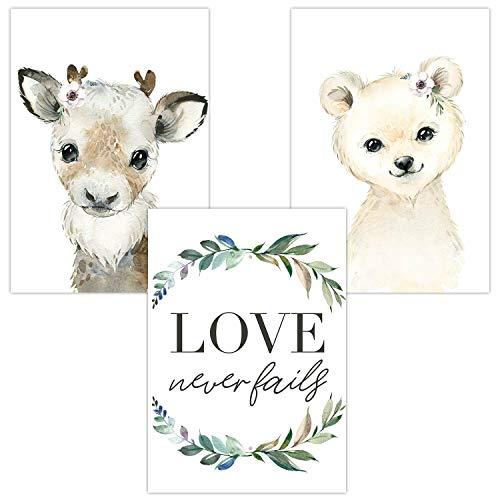 Wandbilder 3er Set für Babyzimmer Deko Poster | Kunstdruck DIN A4 | Dekoration Kinderzimmer (Love...