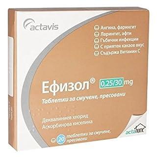 Efizol® 20 Lozenges - Sore Throat, Gingivitis, Pharyngitis, Tonsillitis, Laryngitis contains VITAMIN C by Actavis