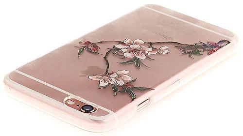 Nnopbeclik [Coque Iphone 6 Silicone / Coque Iphone 6S Apple ] Transparente élégant Style de Impression Couleur Motif Doux Backcover Case Housse pour Iphone 6 Coque Apple / Iphone 6S Coque Silicone (4. fleur3