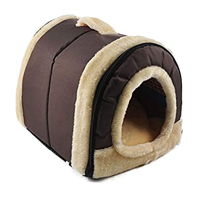 HAPPYX 2 in 1 Pet nest,Multifunction warm plush Machine Washable Non-slip Foldable Detachable with Removable Cushion Dog Cat Puppy Rabbit cave bed sofa pad mat house kennel by HAPPYX