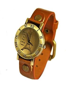SSITG Damenuhr - Leder - Armbanduhr - Vintage - Retro - Damenarmbanduhr - Spangenuhr Paris Eiffel SSA-6