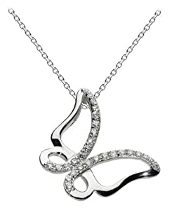 """Dew Womens Sterling Silver and Cubic Zirconia Pave Butterfly Necklace 98375CZ, 18"""""""