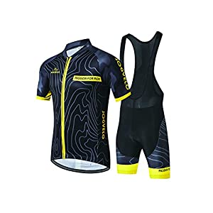 JOGVELO Cycling Jersey, Cycling Clothing Set Man Jersey + Bib Shorts Breathable Reflective, L