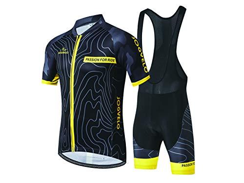 JOGVELO Maillot Ciclismo, Ropa Ciclismo Conjunto Hombre Jersey + Culotes Ciclismo Reflectante Transpirable, L