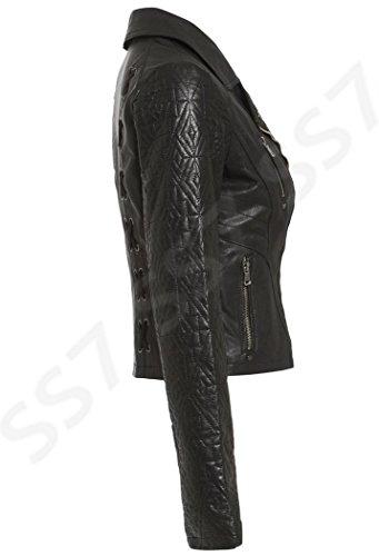 Neuf SS7 Femmes Traverser Lacets matelassé Manche Veste Motard, Noir, Tailles 36 à 44 Noir