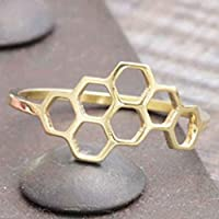 HasiDun Advanced Honeycomb Shape and Linked Hexagon Finger Ring for Women Birthday Gift Perfect for Women & Girls(Alloy)