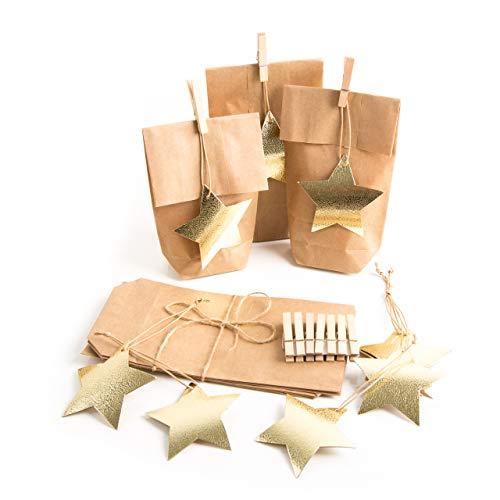 Confezione 5pezzi natale piccola mini sacchetti marrone carta kraft 10,7x 22x 4,2cm + 5stelle d' oro regalo ciondolo weihnachtlich per give away clienti praesente e regali