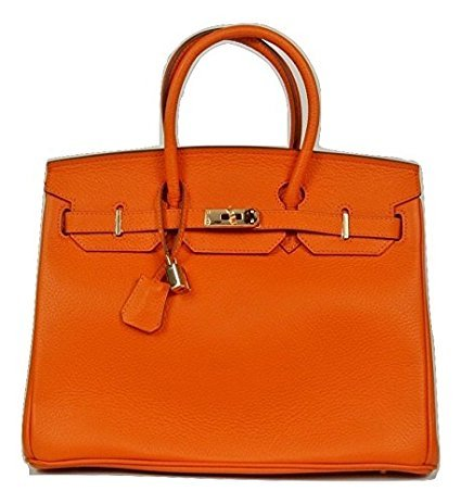 Italian Coated Leather Burnt Orange Designer Handbag Tote Bag with GOLD Metal