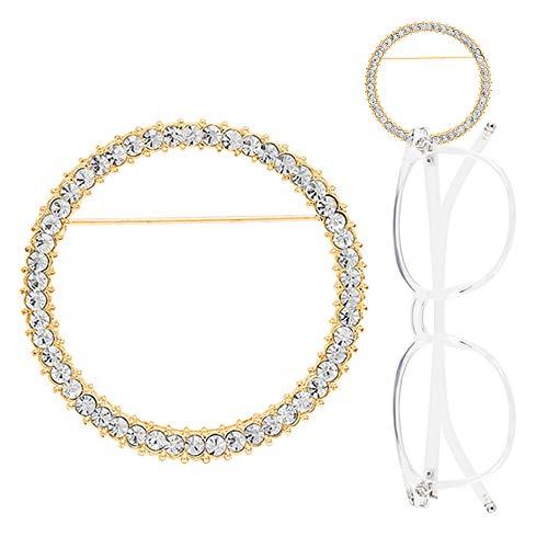 TERAISE Brillenhalter Brosche Klassische Mode Metall Ring Sonnenbrille Halskette Einfache Design Brosche Schmuck(Gold)