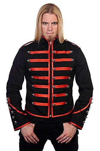 BLUE MAGIK Herren Einzigartige Gothic Steampunk rot schwarz Parade Militär Marching Band Drummer Jacke Goth Punk Emo Gr. Medium, schwarz/rot