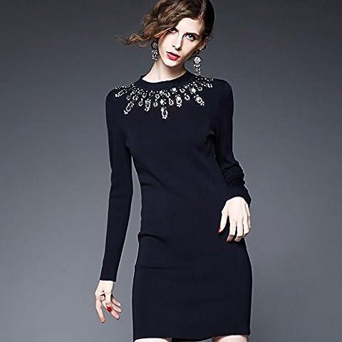 WZH Color sólido de la mujer Bodycon Mostrar fino Jersey paquete hip paso Vestido Falda punto . black . l
