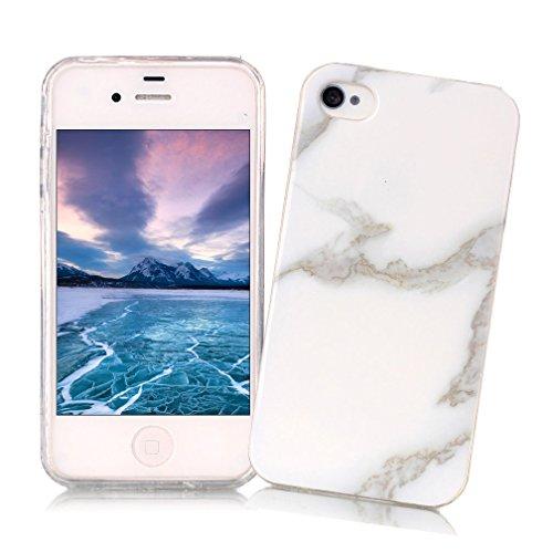 Coque iPhone 4/4S XiaoXiMi Etui en Marbre Texture Housse de Protection Soft TPU Silicone Case Cover Coque Flexible Lisse Etui Ultra Mince Poids Léger Housse Anti Rayure Anti Choc pour iPhone 4/4S - Blanc Enneigé