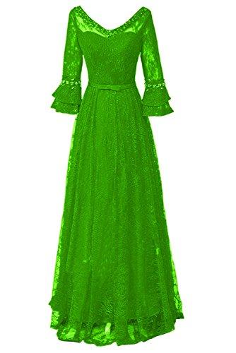 Missdressy Elegant Brautmutterkleid A-Linie Lang Arm V-Ausschnitt Satin Spitze Lang Abenkleider Ballkleider Promkleider Grün
