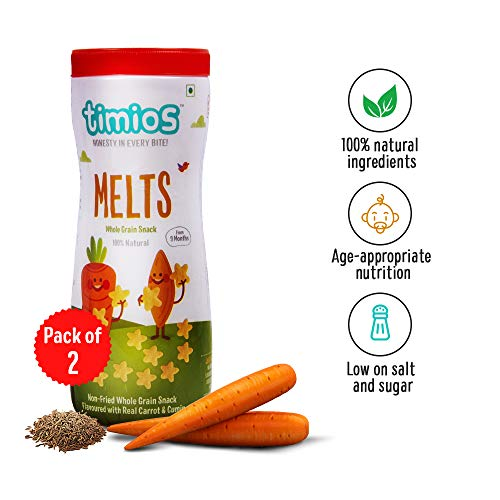 Timios Carrot and Cumin Melts | Whole Grain Snacks for Toddlers | Finger Food | Natural Baby Food | Baby Food Product for 9+ Months | Pack of 2