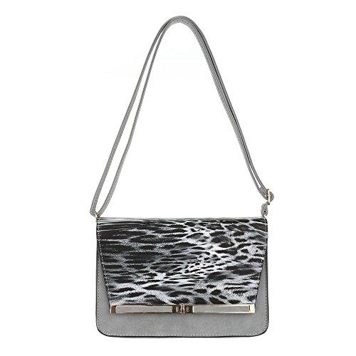 Damen Tasche, Kleine Clutch Tasche, Kunstleder, TA-6160-32 Grau