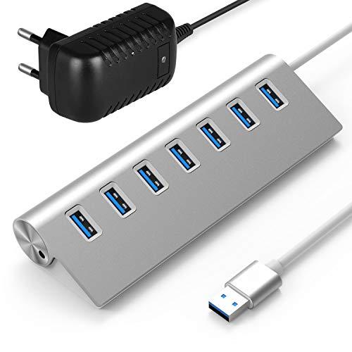 Rybozen USB 3.0 Hub 7-Ports , Aluminum USB-Hubs mit 5V/4A 20W Netzteiladapter für Windows