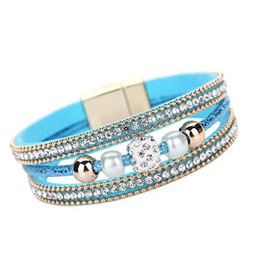 Dorical Armband für Damen Herren Unisex Multilayer Armreif Kristall Perlen Kunstleder Magnetic Armband, Party Hochzeit Schmuck Accessories Reizend Armschmuck(Blau)