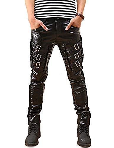 Idopy Herren Hip Hop Biker Schwarz Faux Leder Hosen Hosen (Schwarz 2, W34 (Taille 88cm)) -