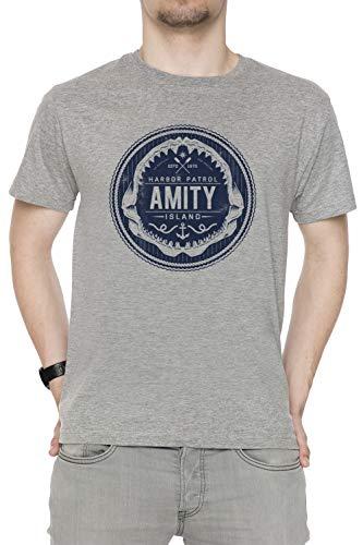 Harbor Island (Amity Island Harbor Patrol - Jaws Herren T-Shirt Rundhals Grau Kurzarm Größe XXL Men's Grey T-Shirt XX-Large Size XXL)