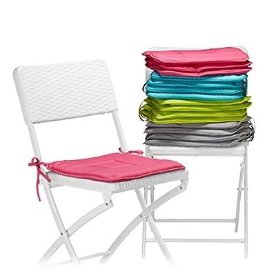 Relaxdays Stuhlkissen 4er Set 40x40 cm in Türkis, Sitzkissen mit Schleife, Auflage für Stühle in Haus und Garten, waschbar, Stuhlauflage aus Polyester von Relaxdays auf Gartenmöbel von Du und Dein Garten