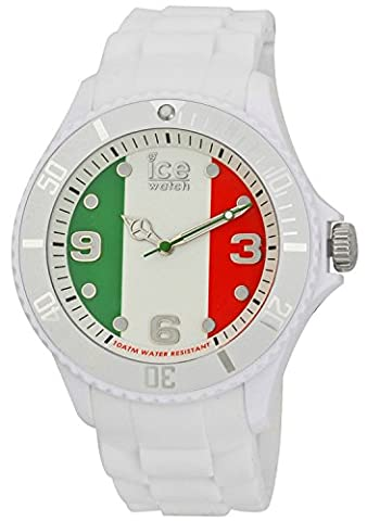 Ice-Watch Big Quartz Watch with Multicolour Dial Analogue Display and White Silicone Strap