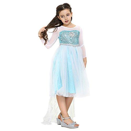 Imagen de disfraz de elsa, reina de las nieves frozen, traje de color turquesa y diamante en forma de copo de nieve con tiara  para niñas de 4 5 años alternativa