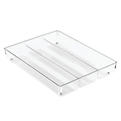InterDesign Linus Cutlery Tray for Kitchen Utensils, Large Kitchen Accessories for Storage and Organising, Made of Durable Plastic, Clear