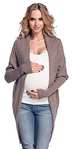 Happy Mama Femme Maternité. Gilet de grossesse. Cardigan souple à côtes. 337p Cappuccino