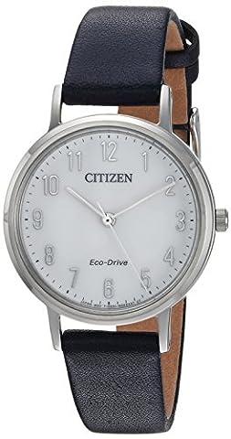 Citizen CITIZEN ECO-DRIVE Damen Quarz Edelstahl und Leder Casual Uhr, Farbe: Blau (Modell: