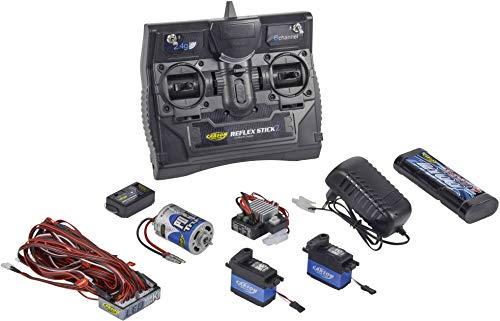 Carson 500501015 500501015-Reflex Stick Truck-Set 2.4G 6 Kanal, Modellbau, 2,4 GHz Fernsteuerung, Empfänger, inkl. Zubehör, Anleitung, schwarz 6 Kanal